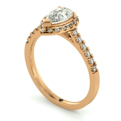 HRPESD695 Shoulder set Single Halo Pear cut Diamond Ring - rose