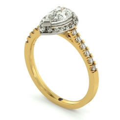 HRPESD695 Shoulder set Single Halo Pear cut Diamond Ring - yellow