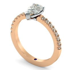 HRPESD744 Pear cut Designer Shoulder Diamond Ring - rose