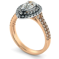 HRPESD816 Pear Halo Diamond Ring - rose