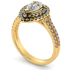 HRPESD816 Pear Halo Diamond Ring - yellow
