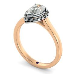 HRPESD837 Pear Halo Diamond Ring - rose