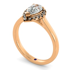 HRPESD837 Pear Halo Diamond Ring - rose