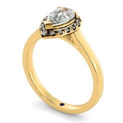 HRPESD837 Pear Halo Diamond Ring - yellow