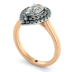 HRPESD838 Pear Halo Diamond Ring - rose