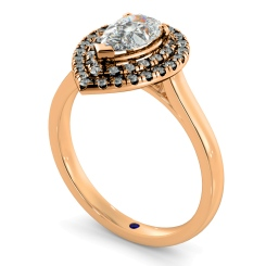 HRPESD838 Pear Halo Diamond Ring - rose