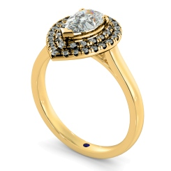 HRPESD838 Pear Halo Diamond Ring - yellow