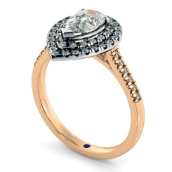HRPESD839 Pear Halo Diamond Ring - rose