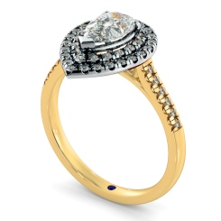 HRPESD839 Pear Halo Diamond Ring - yellow