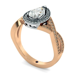 HRPESD840 Pear Halo Diamond Ring - rose