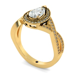 HRPESD840 Pear Halo Diamond Ring - yellow