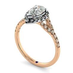 HRPESD841 Pear Halo Diamond Ring - rose