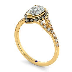 HRPESD841 Pear Halo Diamond Ring - yellow