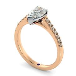 HRPESD875 Pear Shoulder Diamond Ring - rose