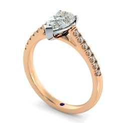 HRPESD875 Pear Shoulder Diamond Ring - rose