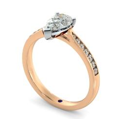 HRPESD877 Pear Shoulder Diamond Ring - rose