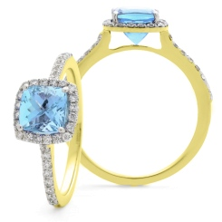 HRPGAQ1104 Princess Shape Aquamarine  & Diamond Single Halo Ring - yellow