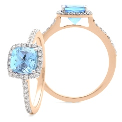 HRPGAQ1104 Princess Shape Aquamarine  & Diamond Single Halo Ring - rose