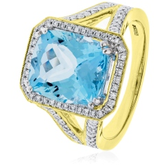 HRPGAQ1118 Single Halo Aquamarine & Diamond Halo Ring - yellow