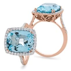 HRPGAQ1124 Thin Band Aquamarine & Diamond Single Halo Ring - rose