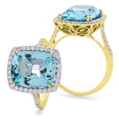 HRPGAQ1124 Thin Band Aquamarine & Diamond Single Halo Ring - yellow