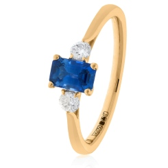 HRPGBS1020 Princess Cut Blue Sapphire and Diamond Three Stone Ring - rose