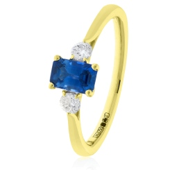 HRPGBS1020 Princess Cut Blue Sapphire and Diamond Three Stone Ring - yellow