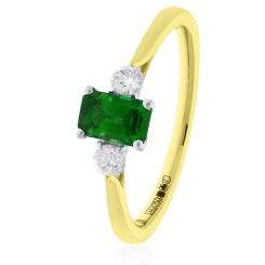HRPGEM1021 Princess Cut Emerald and Diamond Three Stone Ring - yellow