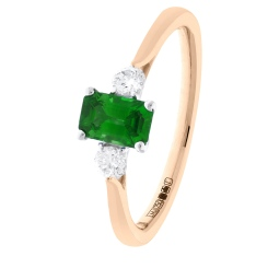 HRPGEM1021 Princess Cut Emerald and Diamond Three Stone Ring - rose