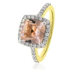 HRPGMG1141 Princess Shape Morganite & Diamond Single Halo Ring - yellow