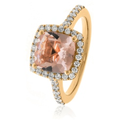 HRPGMG1141 Princess Shape Morganite & Diamond Single Halo Ring - rose