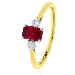 HRPGRY1022 Princess Cut Ruby and Diamond Three Stone Ring - yellow