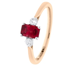 HRPGRY1022 Princess Cut Ruby and Diamond Three Stone Ring - rose