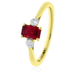 HRPGRY1022 Princess Cut Ruby and Diamond Three Stone Ring - yellow