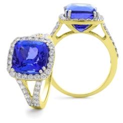 HRPGTZ1111 Split Shank Tanzanite & Diamond Octa Design Halo Ring - yellow