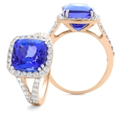 HRPGTZ1111 Split Shank Tanzanite & Diamond Octa Design Halo Ring - rose