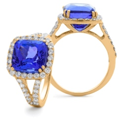HRPGTZ1111 Split Shank Tanzanite & Diamond Octa Design Halo Ring - rose