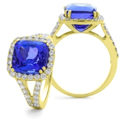 HRPGTZ1111 Split Shank Tanzanite & Diamond Octa Design Halo Ring - yellow