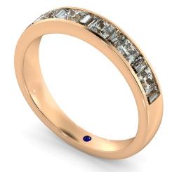 HRPHE1006 Princess & Baguette Half Eternity Diamond Ring - rose