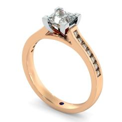 HRPSD494 V Set Princess cut Channel Set Shoulder Diamond Ring - rose
