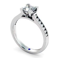 HRPSD494 V Set Princess cut Channel Set Shoulder Diamond Ring - white