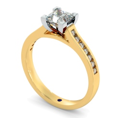 HRPSD494 V Set Princess cut Channel Set Shoulder Diamond Ring - yellow