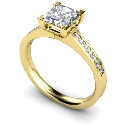 HRPSD495 V Prongs Grain Set Diamond Ring with Accent Stones - yellow
