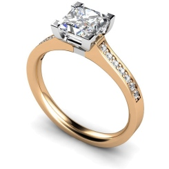 HRPSD495 V Prongs Grain Set Diamond Ring with Accent Stones - rose