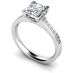 HRPSD495 V Prongs Grain Set Diamond Ring with Accent Stones - white