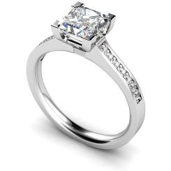HRPSD495 V Prongs Grain Set Diamond Ring with Accent Stones - white