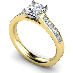 HRPSD527 Princess cut Diamond Ring with Accent Stones - yellow