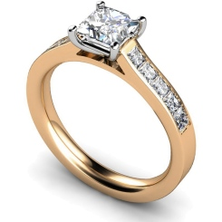 HRPSD527 Princess cut Diamond Ring with Accent Stones - rose