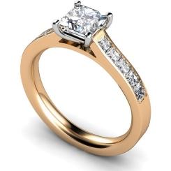 HRPSD527 Princess cut Diamond Ring with Accent Stones - rose