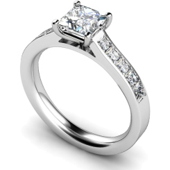 HRPSD527 Princess cut Diamond Ring with Accent Stones - white